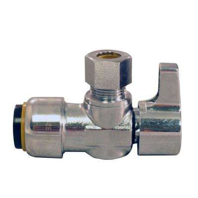 1/2 in. Chrome-Plated Brass Push-to-Connect x 3/8 in. O.D. Compression Quarter-Turn Angle Stop Valve
