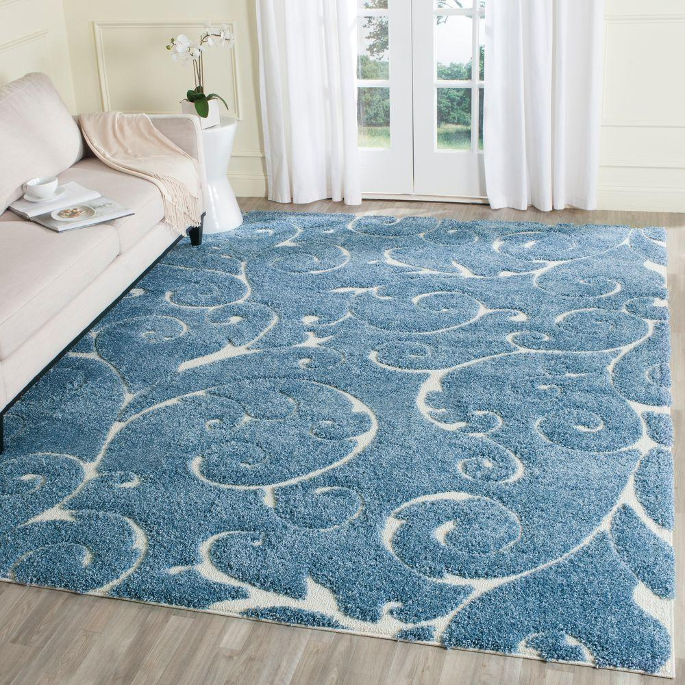 Safavieh Florida Shag Light Blue/Cream 8 Ft. X 10 Ft. Area Rug Part 70