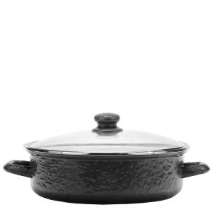 Solid Black 5 qt. Enamelware Saute Pan with Glass Lid