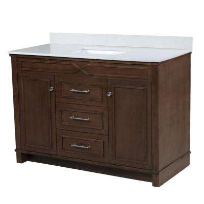 Bombay 48.5 in. W x 21.5 in. D Vanity in American Walnut with Quartz Vanity Top in White with White Basin