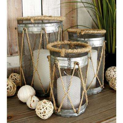 Metallic Gray Iron Wire Grid and Brown Twisted Rope Round Candle Holders (Set of 3)