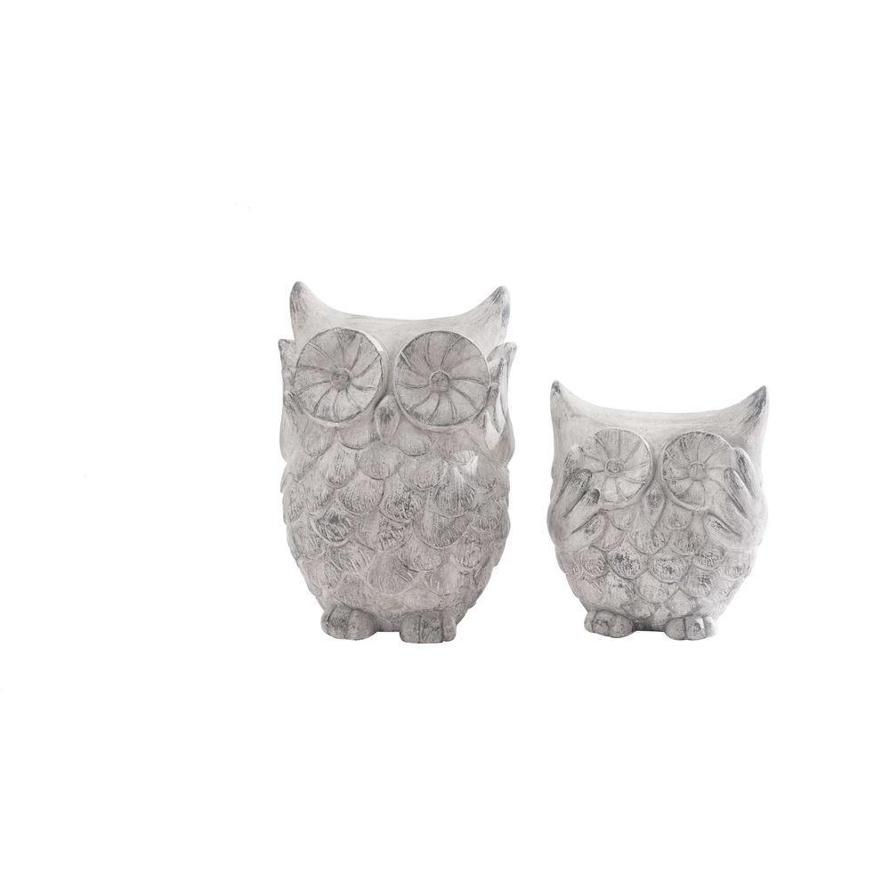 Sunjoy Owl Set Garden Statues 110301043 The Home Depot