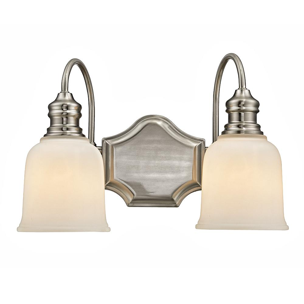 Home Decorators Collection 2-Light Satin Nickel Vanity Light with Frosted White Glass