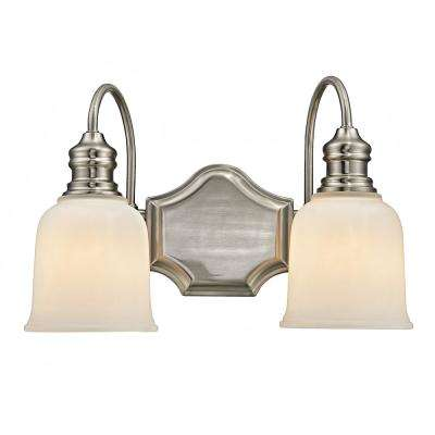 2-Light Satin Nickel Vanity Light with Frosted White Glass