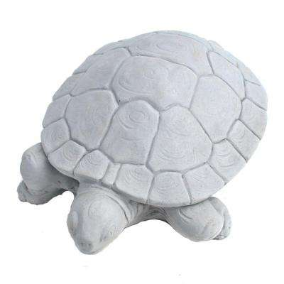Cast Stone Water Turtle Garden Statue - Antique Gray