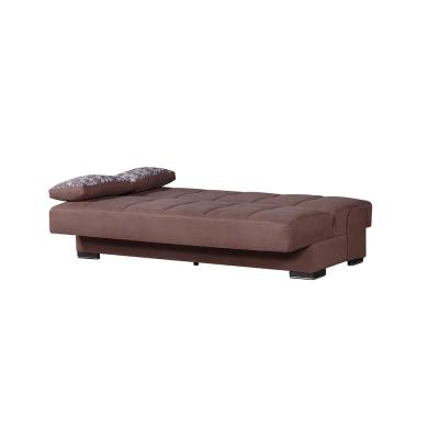 Soho 75 in. Brown Upholstery Convertible Sofabed with Storage