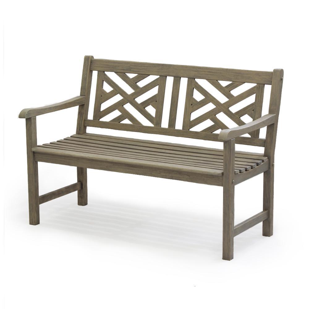 Cambridge Casual 4 ft. Maine Weathered Gray Teak Wood Outdoor Bench