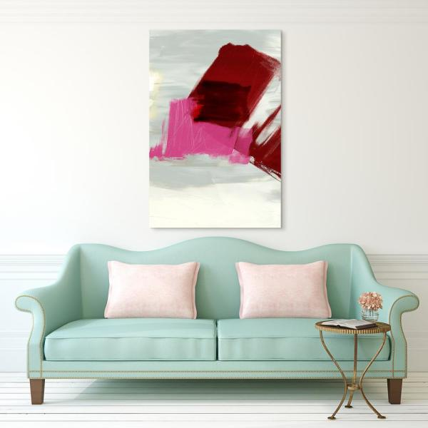 ''Magenta Abstract 1'' Frameless Free Floating Tempered Glass Panel Graphic Art