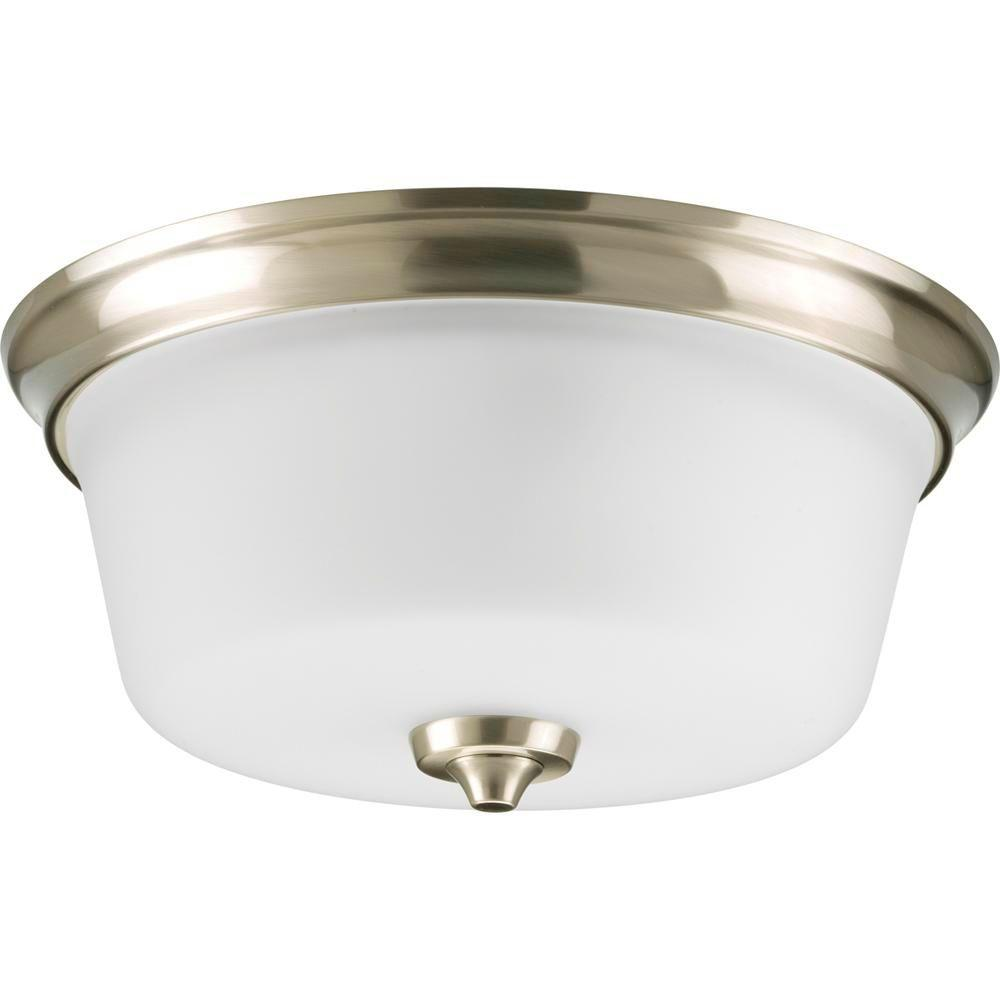 Progress lighting lahara collection 2 light brushed nickel flush mount with etched glass