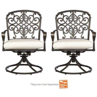 Edington Cast Back Pair Patio Swivel Rockers with Cushions Included, Choose Your Own Color