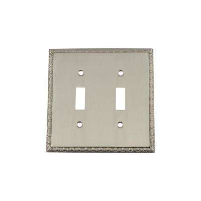 Egg and Dart Switch Plate with Double Toggle in Satin Nickel