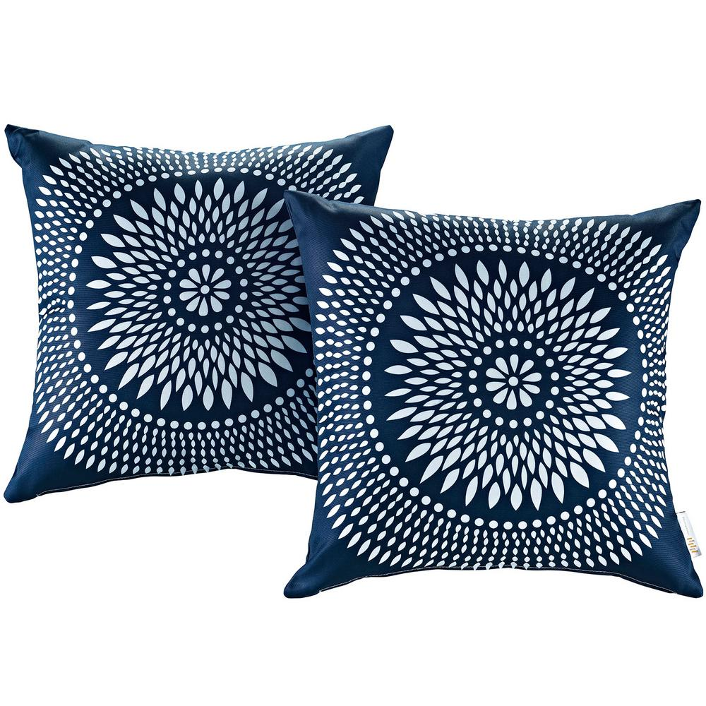 MODWAY Patio Square Outdoor Throw Pillow Set In Cartouche (2 Piece)
