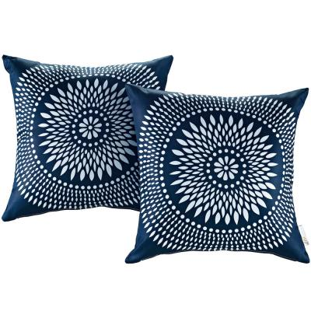 Patio Square Outdoor Throw Pillow Set in Cartouche (2-Piece)