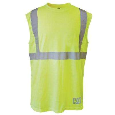 Hi-Vis Men's X-Large Yellow Polyester ANSI Class 2 Sleeveless T-Shirt
