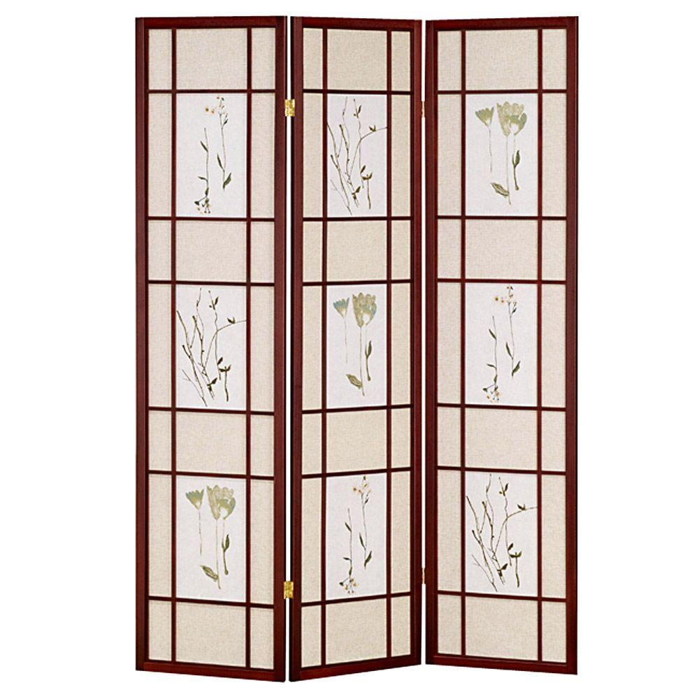 Home Decorators Collection 5.83 ft. Cherry 3-Panel Room Divider