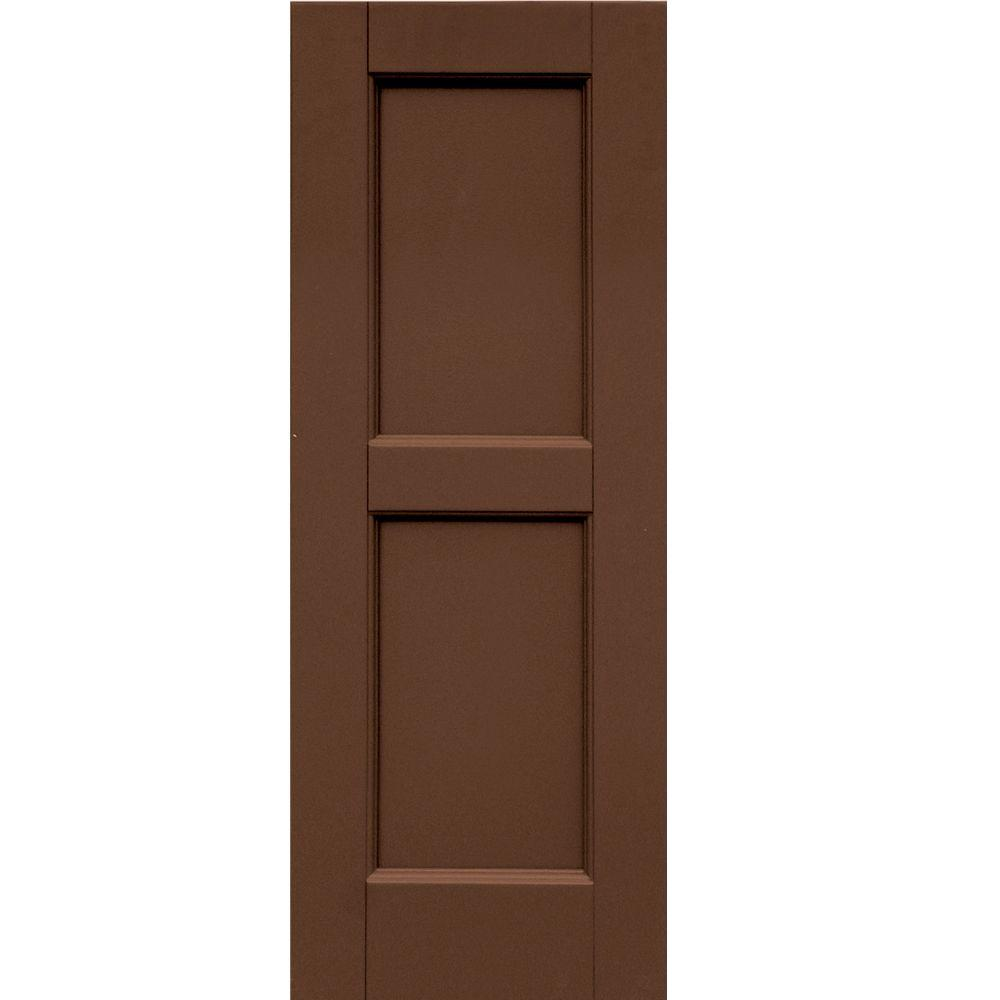 Winworks Wood Composite 12 in. x 32 in. Contemporary Flat Panel Shutters Pair #635 Federal Brown