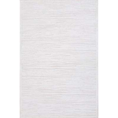 Machine Made Blanc De Blanc 5 ft. x 8 ft. Abstract Area Rug