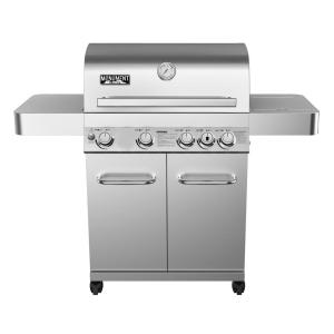 Monument Grills 4-Burner Propane Gas Grill in Stainless with LED Controls, Side Burner and Rotisserie Kit by Monument Grills