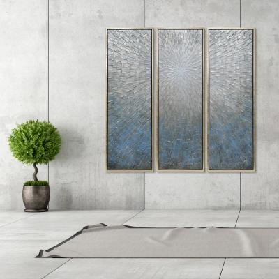 """60 in. x 20 in. """"Silver Ice"""" Textured Metallic Hand Painted by Martin Edwards Wall Art (Set of 3)"""