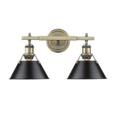 Orwell AB 2-Light Aged Brass Bath Light with Black Shade
