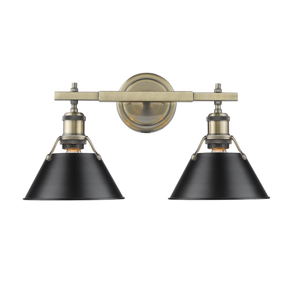 Orwell AB 2-Light Aged Brass Bath Light with Black Shade