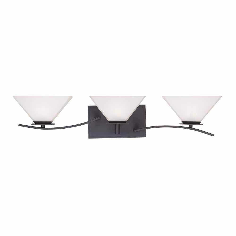 Home Decorators Collection 3-Light Biscayne Bronze Bath Bar Light with Frosted White Glass