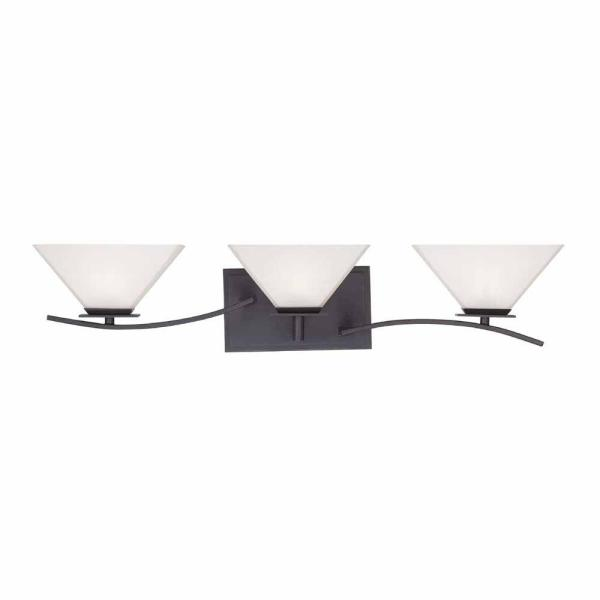 Fox Hill 3-Light Biscayne Bronze Vanity Light with Frosted White Glass