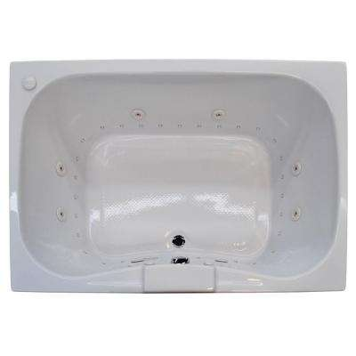 Rhode Diamond Series 5 ft. Right Pump Rectangular Drop-in Whirlpool and Air Bath Tub in White