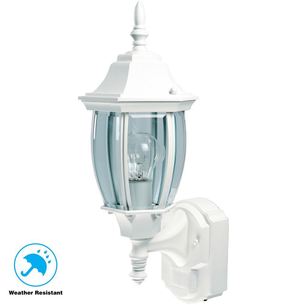 Alexandria 180 Degree White Motion-Sensing Outdoor Decorative Lamp - Motion Sensing - Outdoor Wall Mounted Lighting - Outdoor Lighting