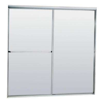 Model 750 58-1/2 in. x 57 in. Framed Sliding Tub Door in Satin Clear with Obscure Glass and Towel Bar