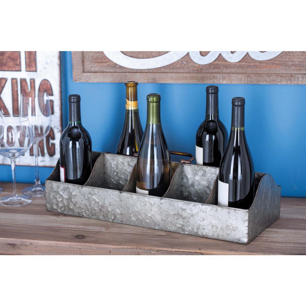 20 in. x 8 in. x 7 in. Galvanized Iron 10-Bottle Wine Holder