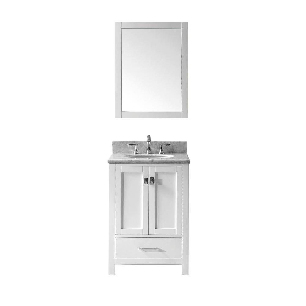 Virtu Usa Caroline Avenue 25 In W Bath Vanity In White With Marble Vanity Top In White With