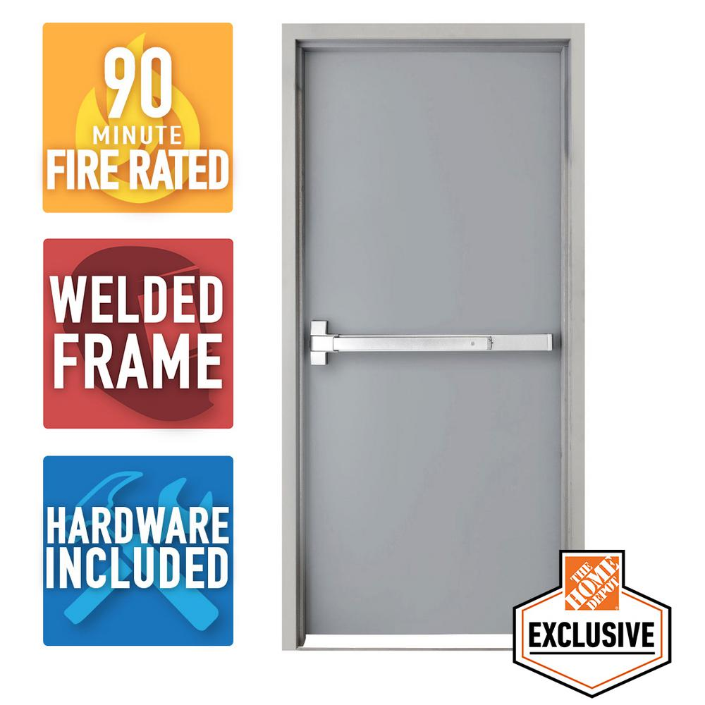 Armor Door 36 In X 84 In Fire Rated Gray Right Hand Flush Steel Prehung Commercial Door And Frame With Panic Bar And Hardware Vsdfrwd3684er The Home Depot