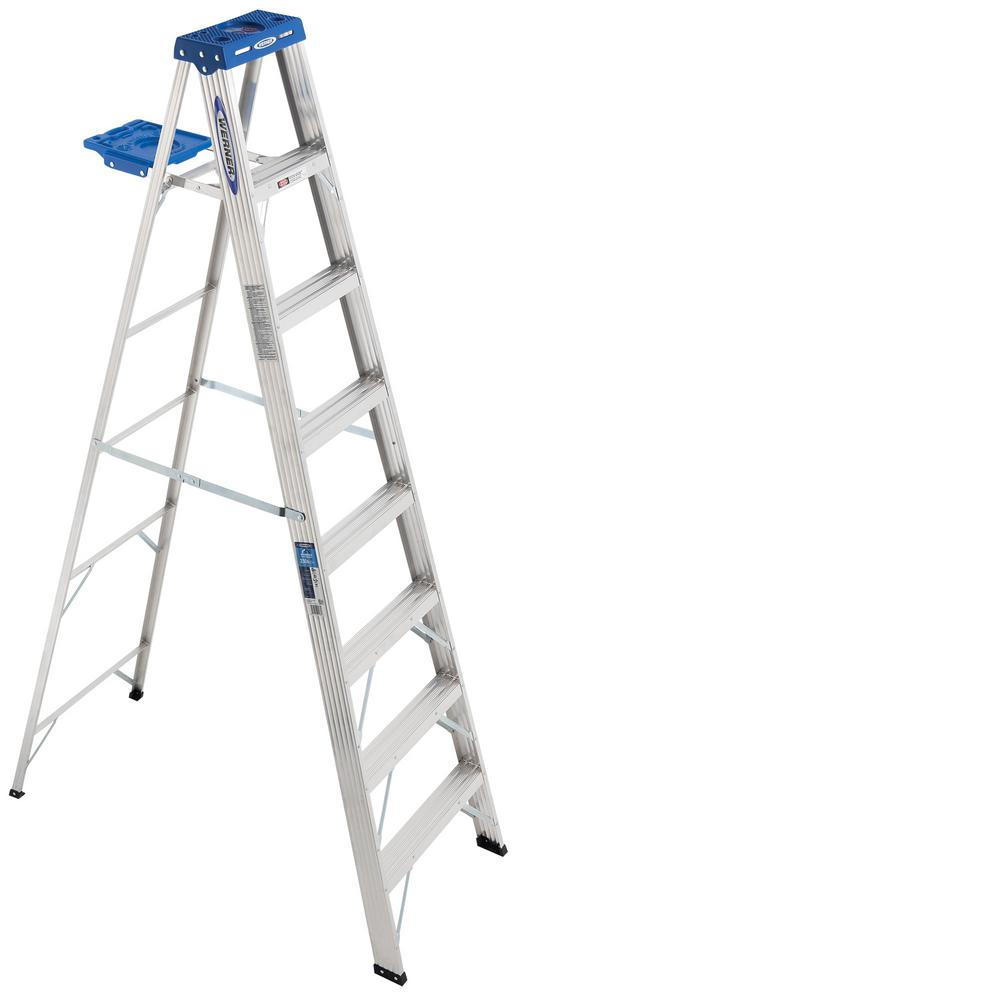 Werner 8 Ft Aluminum Step Ladder With 250 Lb Load Capacity Type I Duty Rating 368 The Home Depot