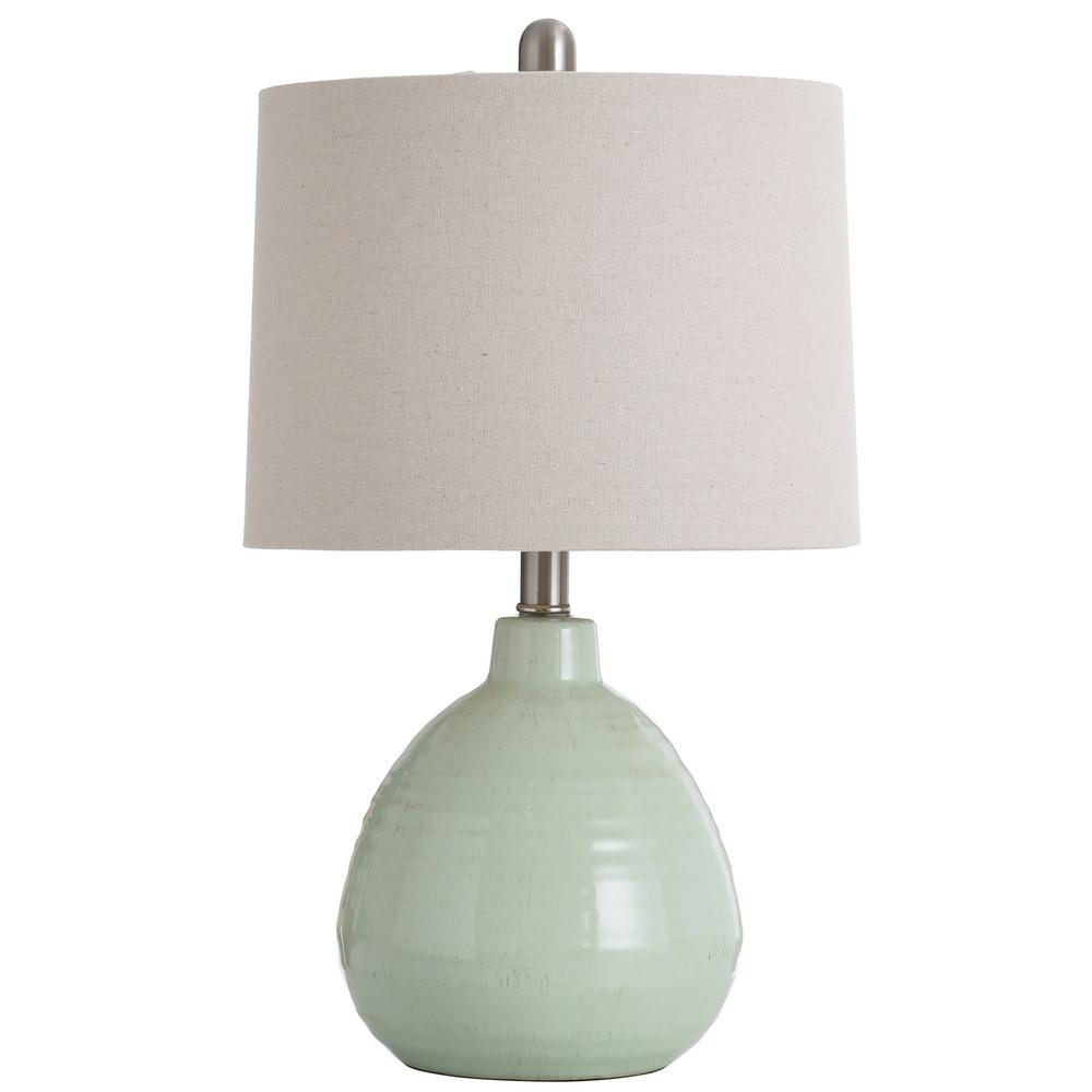 Stylecraft 21 5 In Key Lime Green Table Lamp With Beige