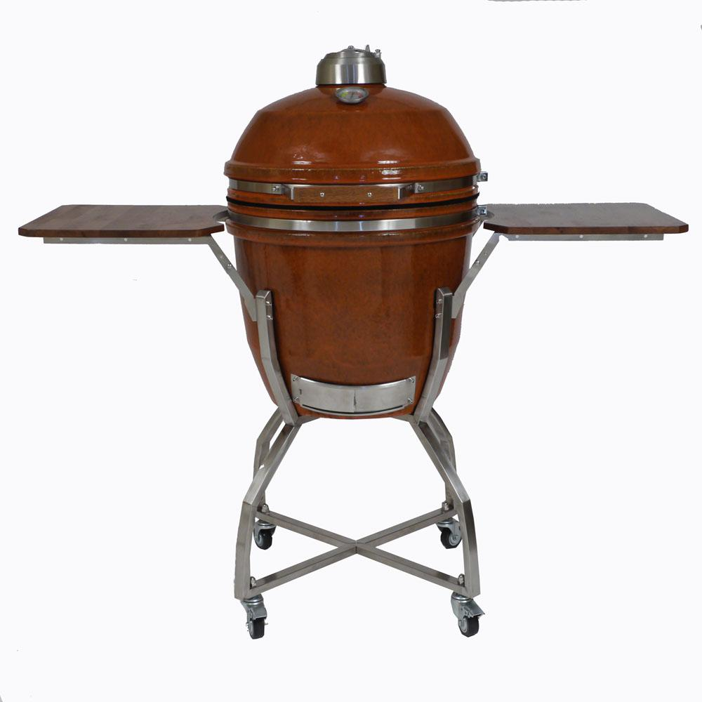19 in. Ceramic Kamado Grill in Rust with Stainless Steel Cart