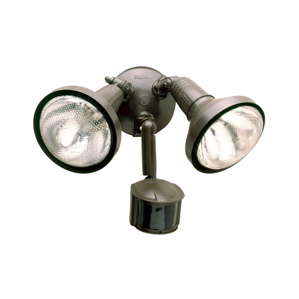All Pro 180 Degree Bronze Motion Activated Sensor Outdoor Security Flood Light With Lamp Cover