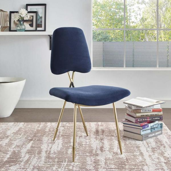 MODWAY Ponder Navy Upholstered Velvet Dining Side Chair EEI-2811-NAV