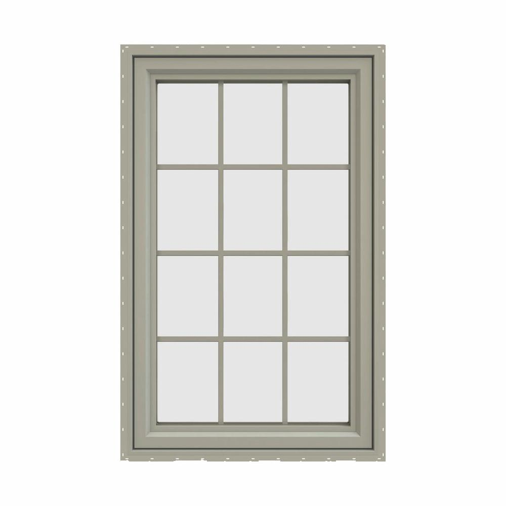 V 4500 Series Desert Sand Vinyl Left Handed Cat Window With Colonial Grids Grilles