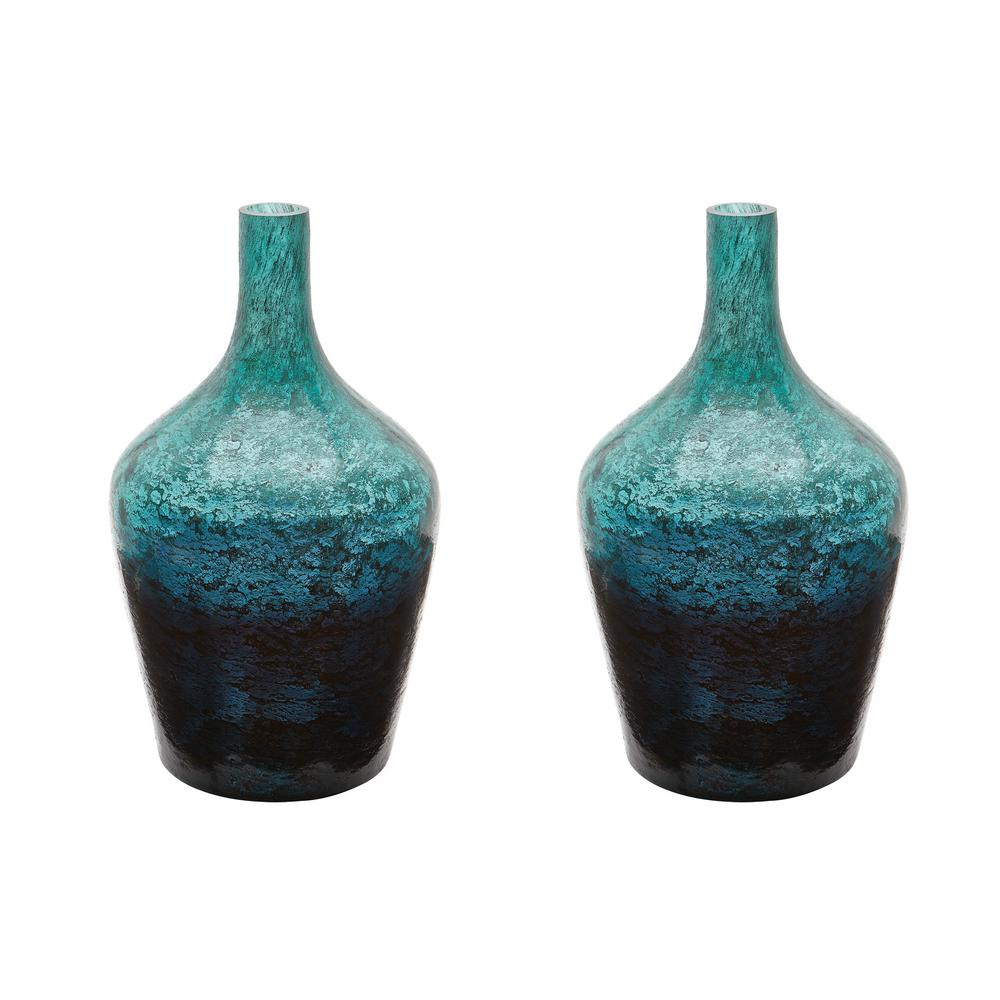 Ombre 6 in. x 6 in. Emerald Glass Decorative Bottle (Set