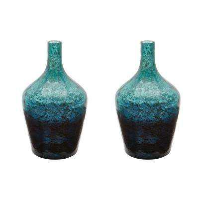 Ombre 6 in. x 6 in. Emerald Glass Decorative Bottle (Set of 2)