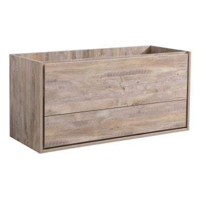 Catania 48 in. Modern Wall Hung Bath Vanity Cabinet Only in Rustic Natural Wood