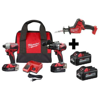 M18 18-Volt Lithium-Ion Brushless Cordless Hammer Drill/Impact/Reciprocating Saw Combo Kit (3-Tool) with 4-Batteries