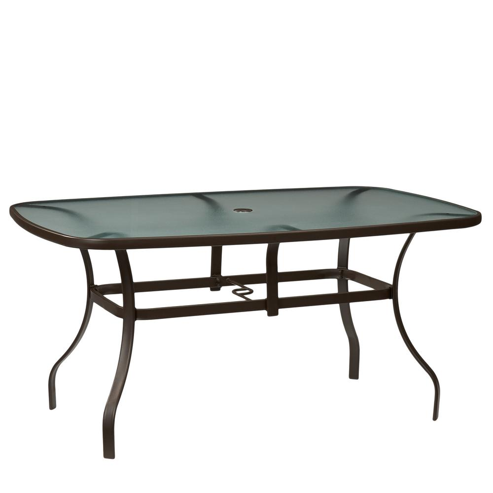 Hampton Bay Mix And Match Rectangle Metal Outdoor Dining Table - White metal outdoor dining table
