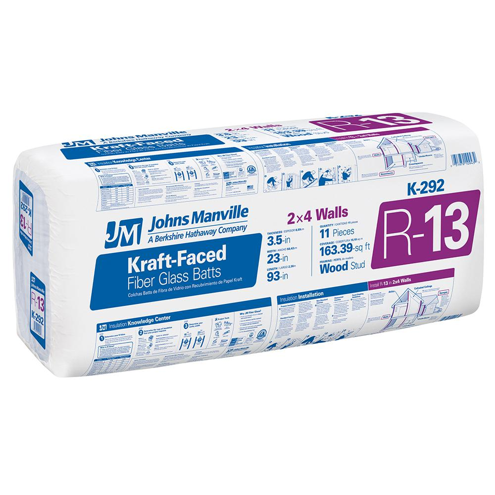 R-13 Kraft Faced Fiberglass Insulation Batt 23 in. x 93 in.