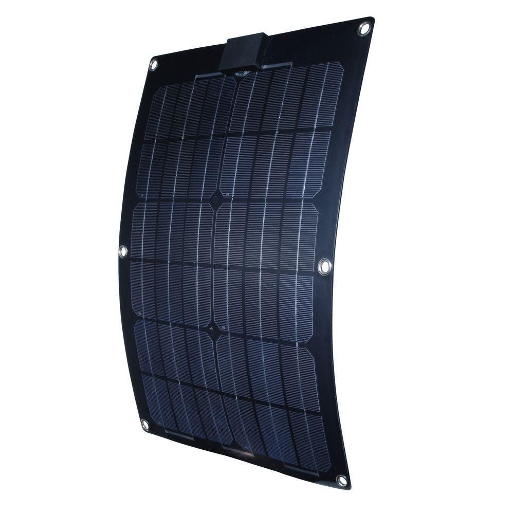 25-Watt Semi-Flex Monocrystalline Solar Panel for 12-Volt Charging
