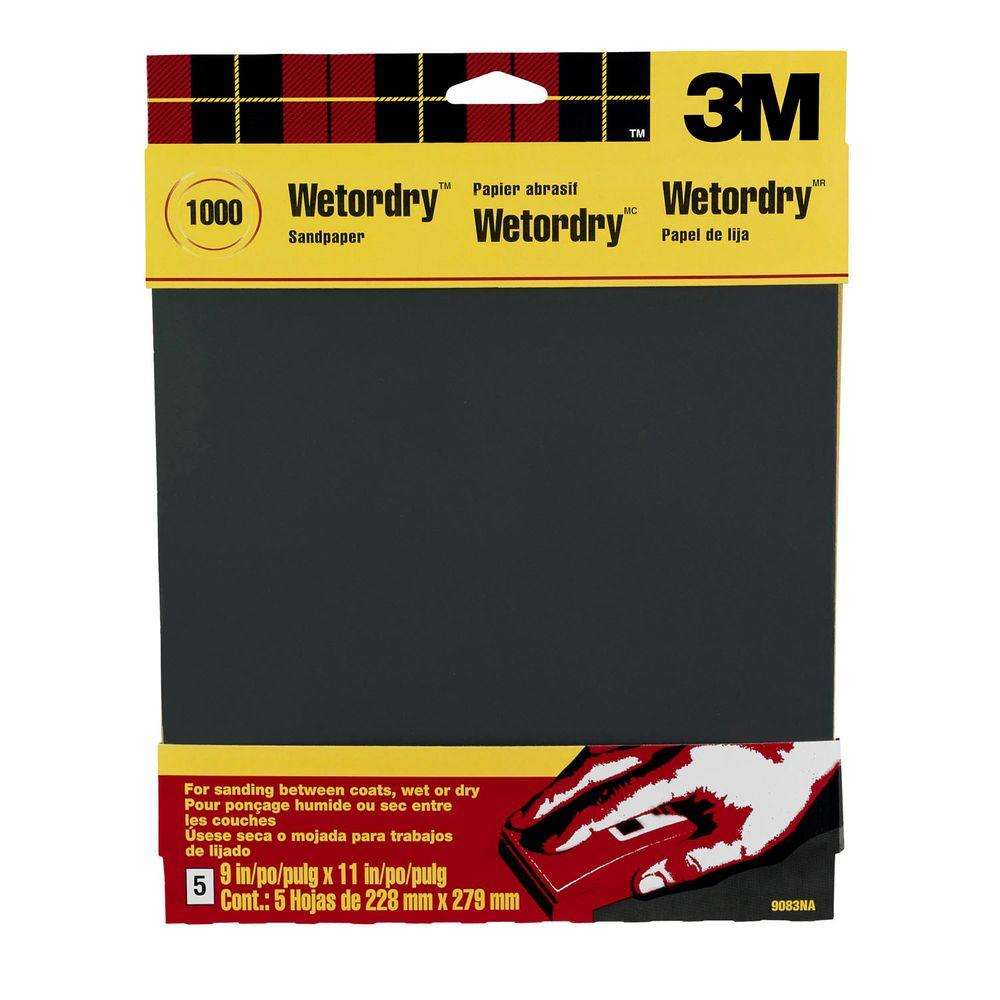 3M 9 in. x 11 in. 1000 Grit Ultra Fine Silicon Carbide Sandpaper ...