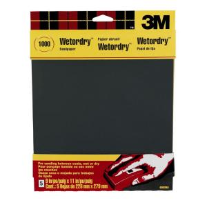 3M 9 inch x 11 inch 1000 Grit Ultra Fine Silicon Carbide Sandpaper (5-Pack) by 3M