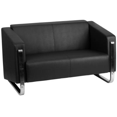 54 in. Black Faux Leather 2-Seater Loveseat with Stainless Steel Frame