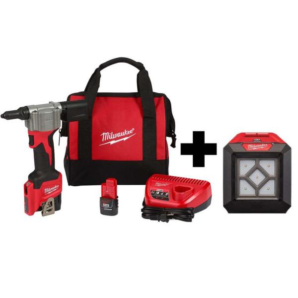 M12 12-Volt Lithium-Ion Cordless Rivet Tool Kit with (2) 1.5Ah Batteries, Charger and 1000 Lumens M12 Flood Light